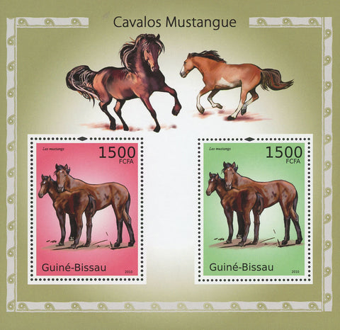 Guiné-Bissau Mustang Horses Souvenir Sheet of 2 Stamps Mint NH