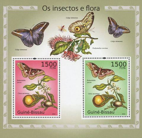 Guiné-Bissau Insects And Flora Butterfly Souvenir Sheet of 2 Stamps Mint NH
