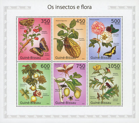 Guiné-Bissau Insects And Flora Butterfly Souvenir Sheet of 6 Stamps Mint NH