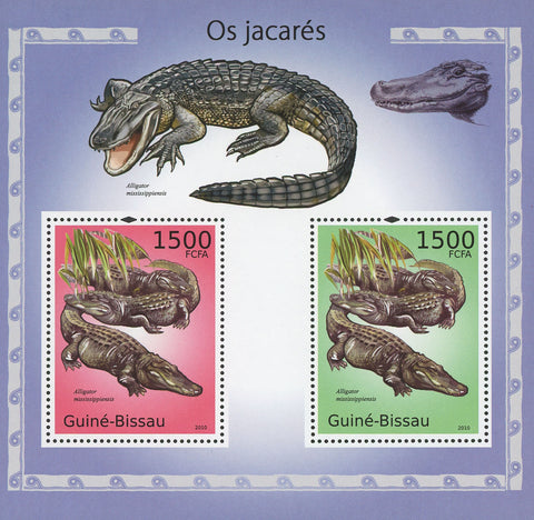 Guiné-Bissau Alligators Mississippiensis Souvenir Sheet of 2 Stamps Mint NH