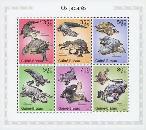 Guiné-Bissau Alligators Mississippiensis Souvenir Sheet of 6 Stamps Mint NH