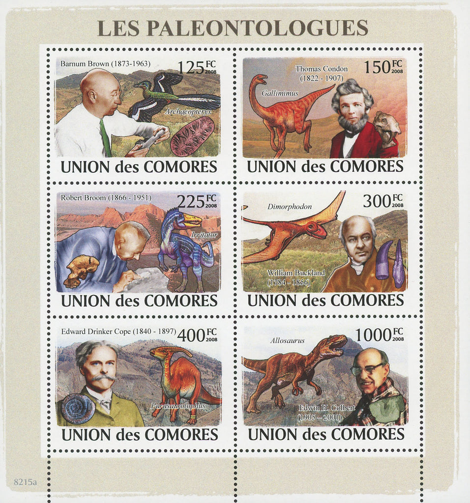 Paleontologists Science Souvenir Sheet of 6 stamps Mint NH