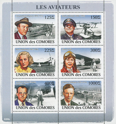 Comoros Pilots Aviators Souvenir Sheet of 6 Stamps Mint NH