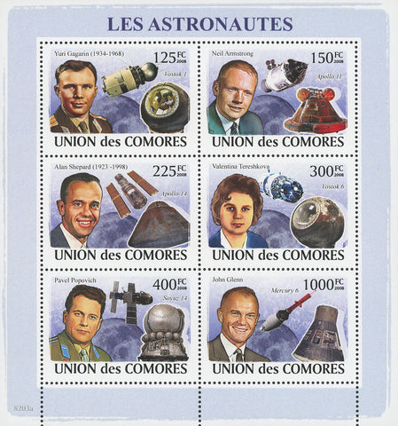 Astronauts Satellite Capsules Moon Space Souvenir Sheet of 6 Stamps Mint