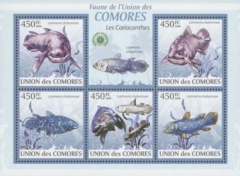 Coelacanths Fish Souvenir Sheet of 5 Stamps Mint NH