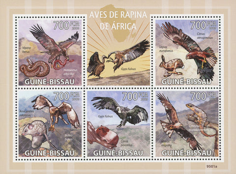 Guiné-Bissau African Birds of Prey Souvenir Sheet of 5 Stamps Mint NH