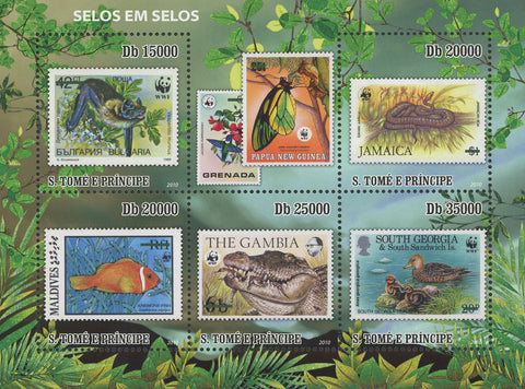 S. Tomé and Principe Stamp in Stamp WWF Souvenir Sheet of 5 Stamps Mint NH