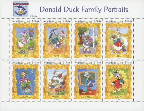 Donald Duck Stamp Disney Family Portrait Souvenir Sheet of 8 Stamps Mint NH