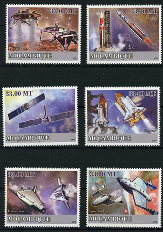 Space Flight Space Ship Moon Galaxy Serie Set of 6 Stamps Mint NH