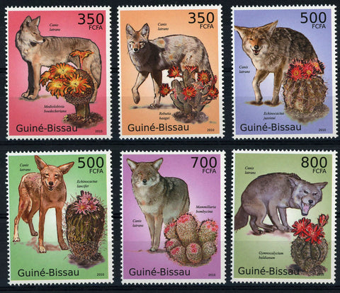 Cactus and Coyotes Canis Latrans Serie Set of 6 Stamps Mint NH