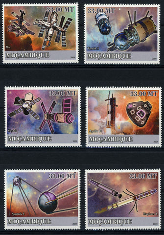 Mozambique Spacial Flight SpaceShip Sattelite Serie Set of 6 Stamps Mint NH