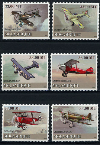 Mozambique Aviation Golden Age Airplane Transportation Serie Set of 6 Stamps Min
