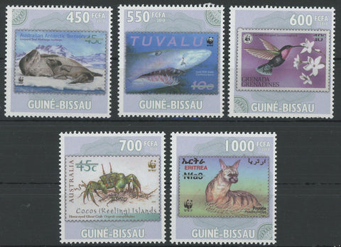 Stamp in Stamp Bird Crab Shark Serie Set pf 5 Stamps Mint NH
