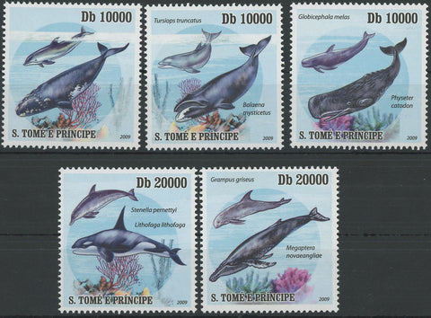 Cetaceans Whale Coral Marine Fauna Ocean Serie Set of 5 Stamps MNH