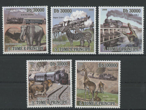 Locomotives and Animals Elephant Zebra Lion Serie Set of 5 Stamps MNH