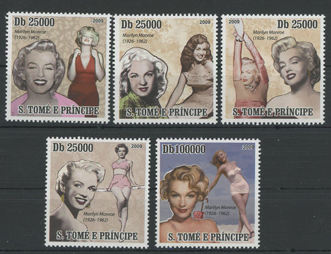 Marylin Monroe Famous Characters Serie Set of 5 Stamps MNH
