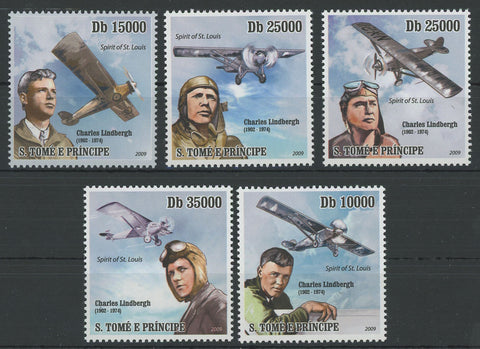 S. Tomé and Principe Aviator Charles Lindberg Airplane Serie Set of 5 Stamps Min
