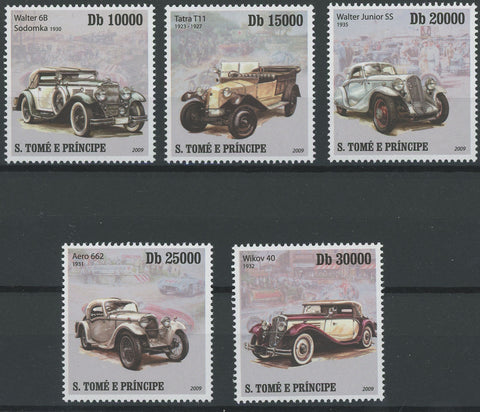 Antique Cars Transportation Serie Set of 5 Stamps Mint NH