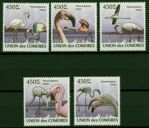 Flamingoes Phoenicoreptus Minor Lake Fly Serie Set of 5 Stamps Mint NH
