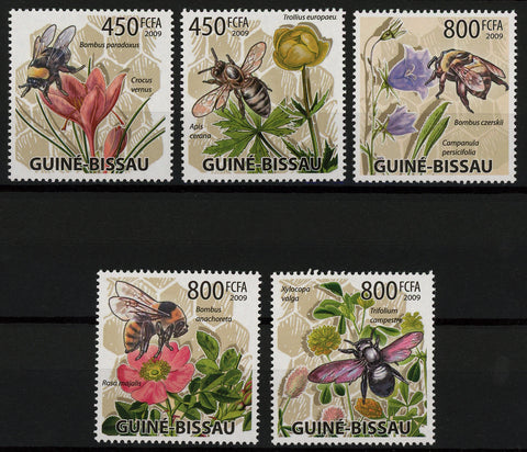 Bee Plant Flower Nature Serie Set of 5 Stamps Mint NH