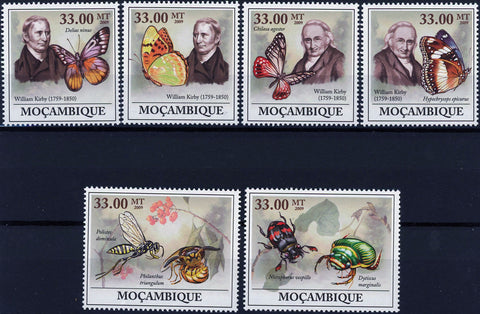 William Kirby Butterfly Entomology Bee Insect Serie Set of 6 Stamps MNH