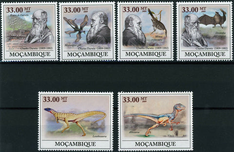 Mozambique Charles Darwin Anniversary Dianosaur Pre Historic Animal Serie Set of