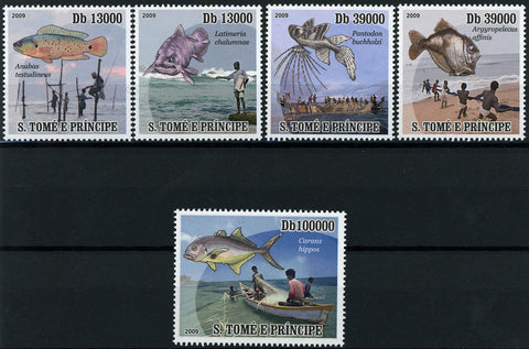 Fish Fishing Ocean Fauna Marine Serie Set of 5 Stamps Mint NH
