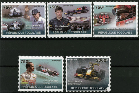 Formula 1 Car Racing Speed Championship Driver Serie Set of 5 Stamps MNH