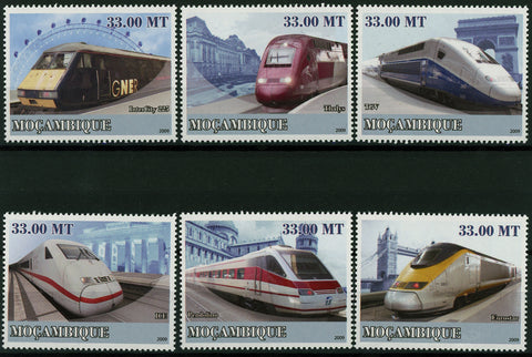 European High Speed Train Transportation Serie Set of 6 Stamps MNH