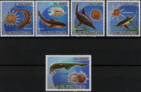 Fish and Shell Ocean Life Marine Fauna Serie Set of 5 Stamp MNH