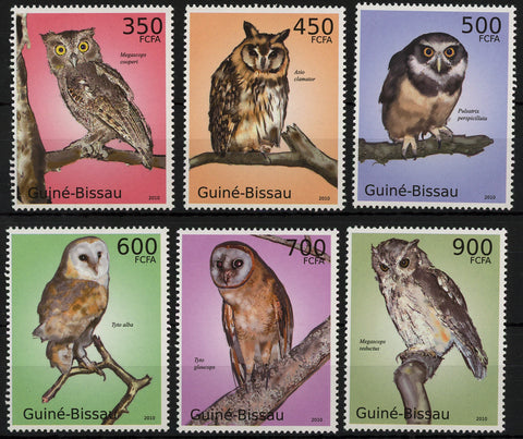 Owls Branch Hunt Birds Serie Set of 6 Stamps Mint NH