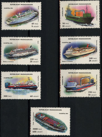 Famous Cruise Boat Ship Ocean Serie Set of 7 Stamps Mint NH