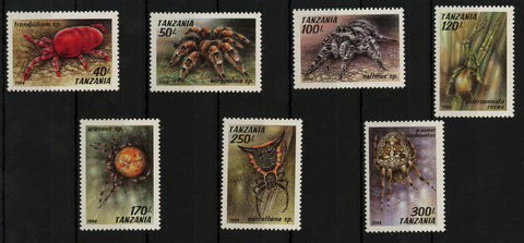 Tanzania Spider Tarantula Insect Arachnids Serie Set of 7 Stamps Mint NH