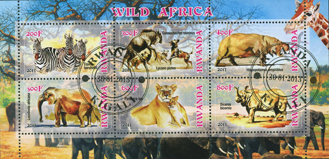 Wild Africa Animal Lion Zebra Elephant Souvenir Sheet of 6 stamps MNH