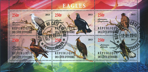Cote D'Ivoire Fauna Flying Bird Souvenir Sheet of 6 Stamps