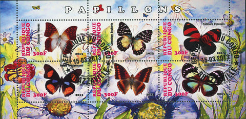 Congo Butterfly Plant Flower Souvenir Sheet of 6 Stamps