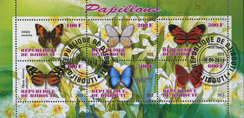 Butterfly Plant Flower Adelpha Mesentina Souvenir Sheet of 6 Stamps