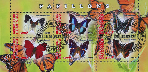 Congo Butterfly Insect Plant Flower Souvenir Sheet of 6 Stamps