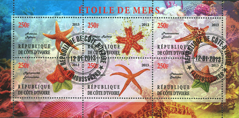 Cote D'Ivoire Sea Star Starfish Marine Life Ocean Souvenir Sheet of 6 Stamps