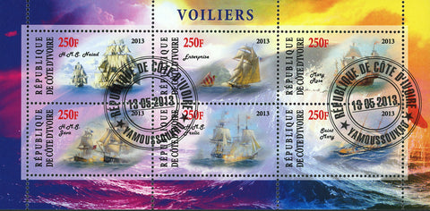 Cote D'Ivoire Sailboat Ship Ocean Wave Souvenir Sheet of 6 Stamps