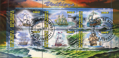 Djibouti Sailboat Ship Ocean Wave Souvenir Sheet of 6 Stamps