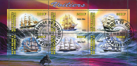 Djibouti Sailboat Ship Ocean Beach Wave Souvenir Sheet of 6 Stamps