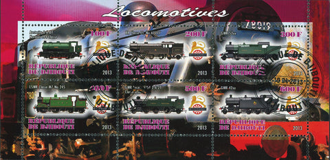 Djibouti Train Locomotive Souvenir Sheet of 6 Stamps