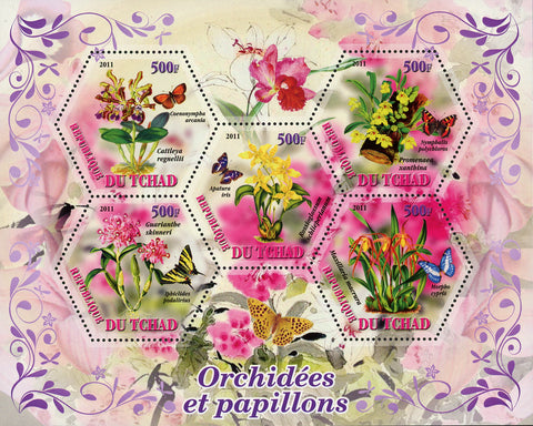 Orchid and Butterfly Plants Flower Insect Souvenir Sheet of 5 Stamps Mint N