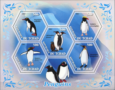 Penguins Ocean Marine Fauna Souvenir Sheet of 5 Stamps Mint NH