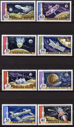 Hungary Space Astronautics Satellite Rocket Earth Serie Set of 8 Stamps Mint NH