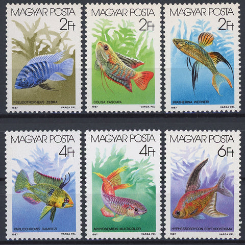 Hungary Fish 1987 Mi 3877-3882 Serie Set of 6 Stamps Mint NH