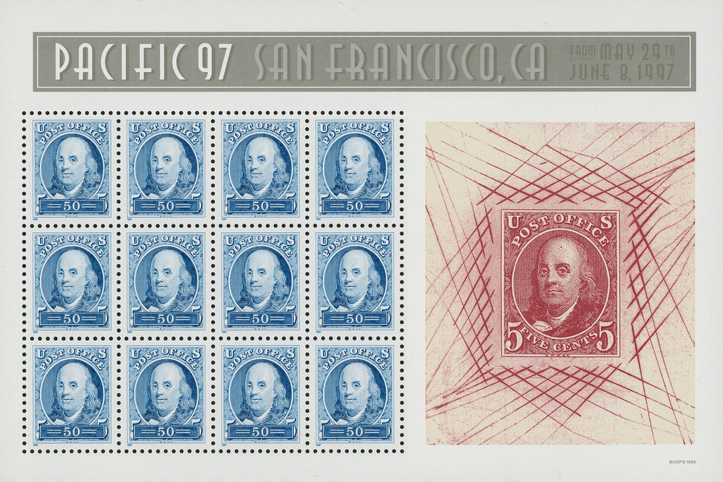USA Pacific '97 Mint Sheets of 12 Stamps Benjamin Franklin SC. #3139-40 Mint NH