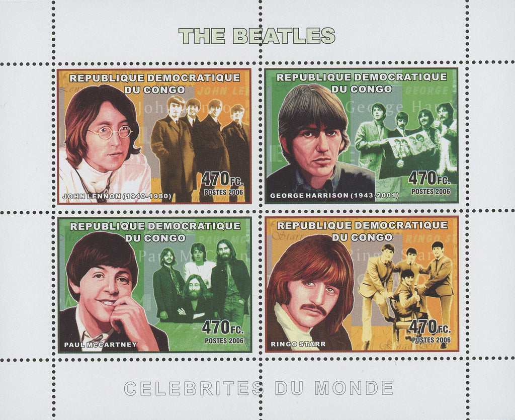 Congo The Beatles Band Singer Music Souvenir Sheet of 4 Stamps Mint NH