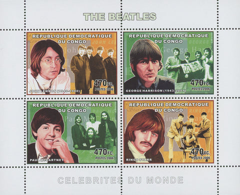 The Beatles Band Singer Music Souvenir Sheet of 4 Stamps Mint NH